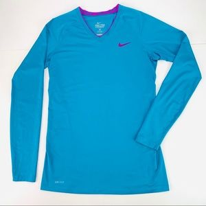 Nike Pro Combat Dri-Fit V-neck Long Sleeve Fitted
